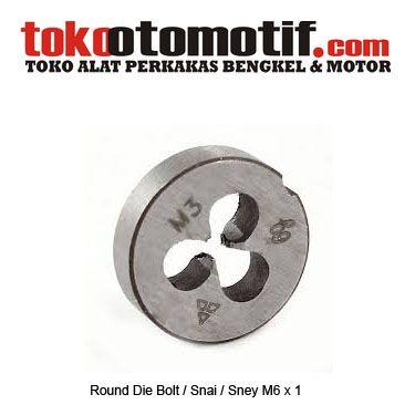 Round Die Bolt ( snai ) M6 x 1 - Pembuat drat / ulir luar baut  Kode : 060549 Nama : Round Die Bolt ( snai ) Tipe : M6 x 1 Berat Kirim : 1 Kg  #snei #snai #sney #perkakasteknik #alattap #jualperkakas #peralatanbengkelotomotif