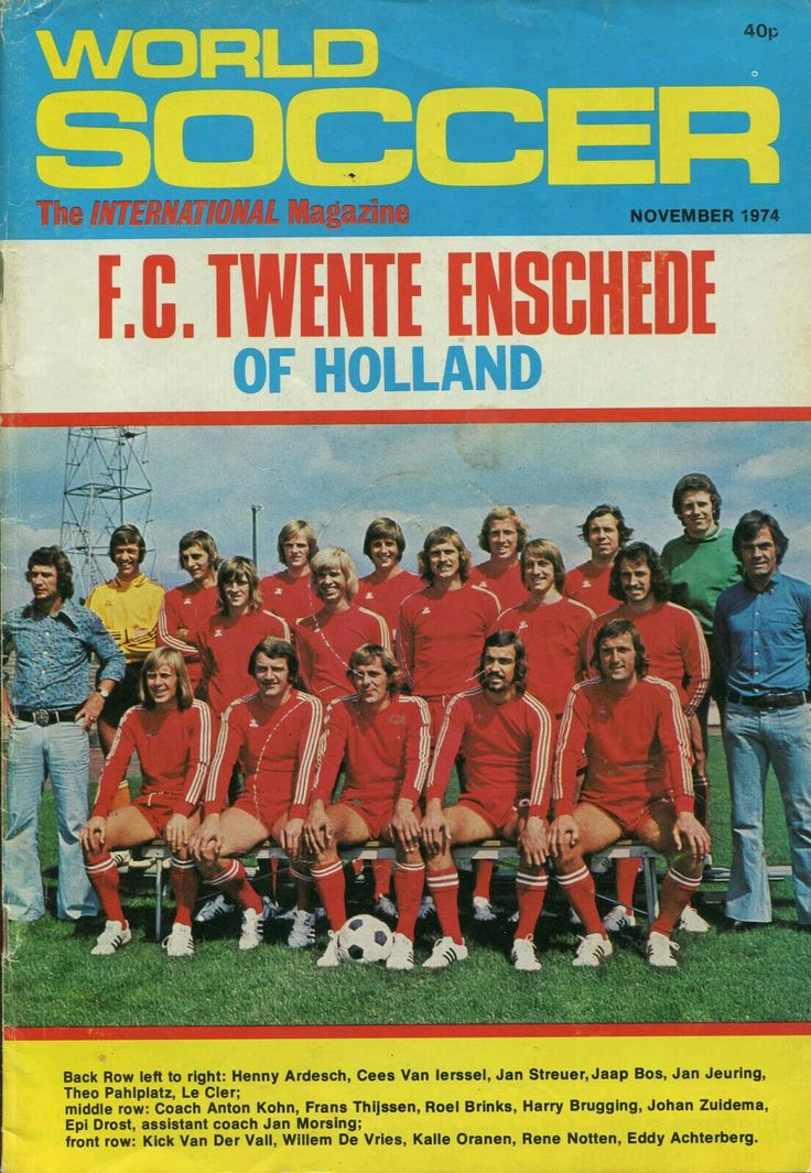 World Soccer magazine in Nov 1974 featuring FC Twente on the cover.