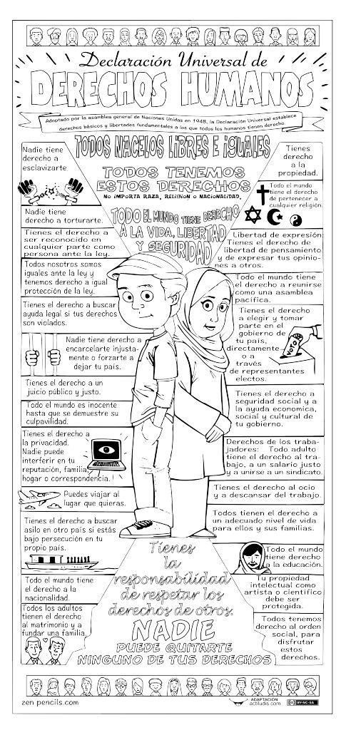 Gran lámina sobre los derechos humanos para poder trabajarla en el aula; además, nos la comparten, en color, con texto, sin texto (para pod...