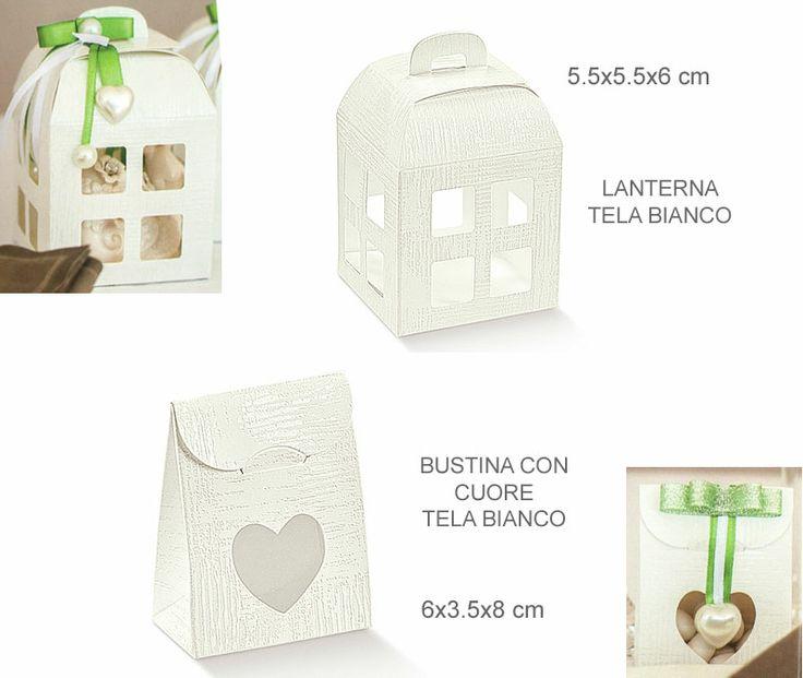 Scatolina lanterna Tela Bianco (20 pezzi)