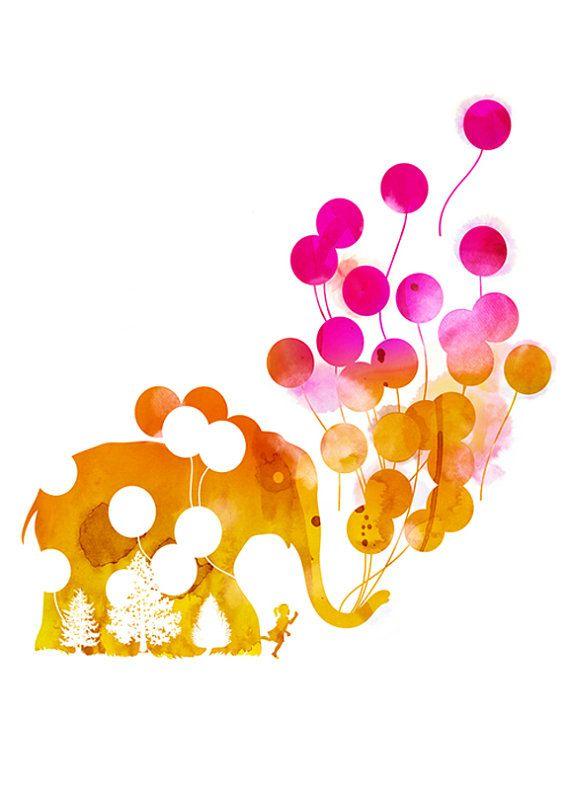 In The Breeze... Elephant Ballons Kids by yeohghstudio on Etsy, $30.00