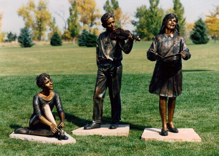Young musician statues by Ann LaRose in front of Esther Simplot Performing Arts Academy. Photo by Ann LaRose. Mentioned in chapter 26 of Broken Windows.