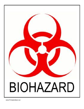 Warn of biological hazards by posting this printable sign with the red biohazard symbol. Free to download and print