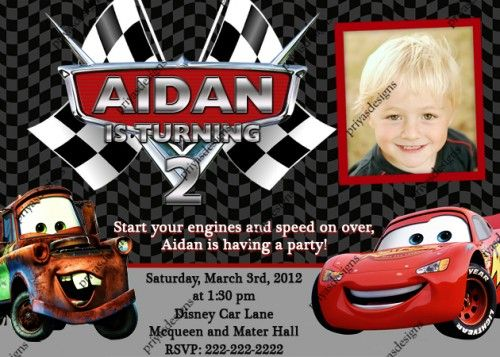 Disney Cars McQueen Mater Birthday Party Invitation - Digital File