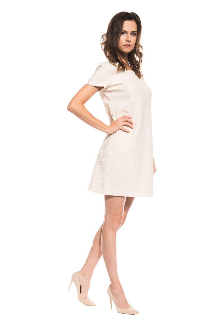 Żakardowa sukienka z krótkim rękawem