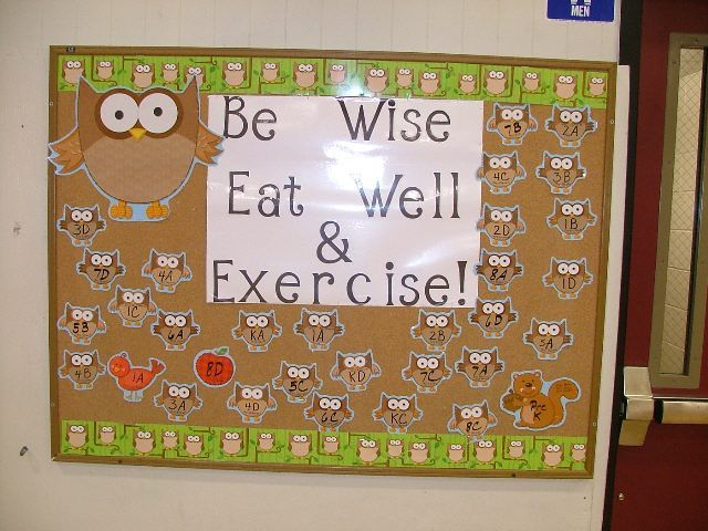 Be Wise Eat Well & Exercise. Love the owl with it - would be cute on the door where I'm working now =)