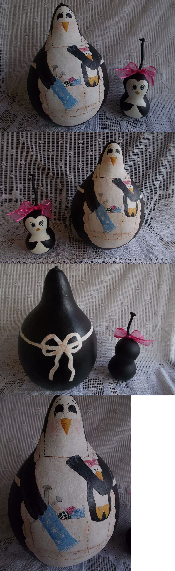 Handpainted Items 71186: (2) Hand Painted Gourd Penguins - Mother 22 Rd X10 Tall And Baby 9 Rd.X 5 Tall -> BUY IT NOW ONLY: $39 on eBay!