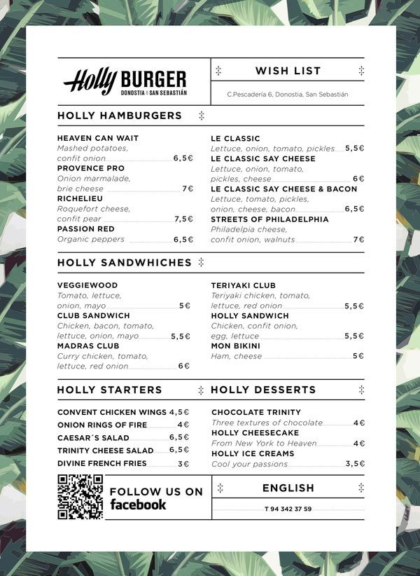 Holly Burger Menu (Love this)