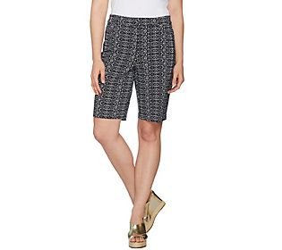 Susan Graver Printed Uptown Stretch Fly Front Bermuda Shorts