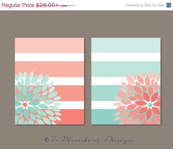 Would be pretty in yellow and blue. Dazzling Duo of Modern Floral Bursts nestled on a back drop of Large Stripes - ombre style. Designed in shades of Pink Coral and Mint (as shown)