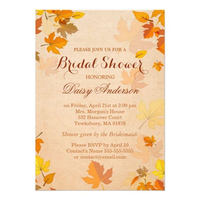 Vintage Rustic Autumn Leaves Wedding Bridal Shower Card