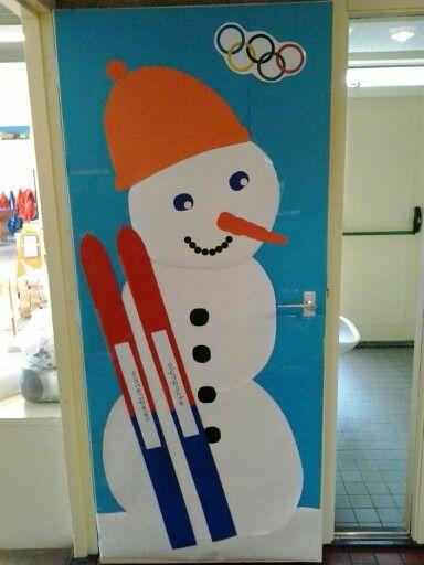 Deur versiering klas winterspelen