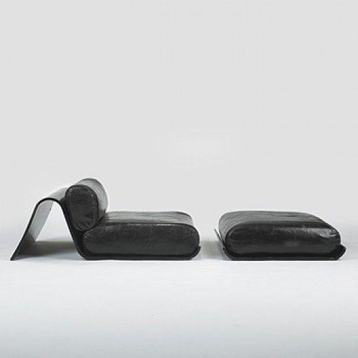 Oscar Niemeyer.   Lounge Chair and Ottoman for Tendo, 1978.