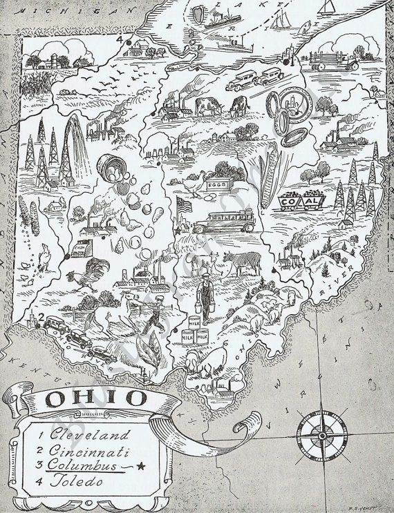 MAP of OHIO Vintage print Whimsical Adorable by BlastsFromThePast,