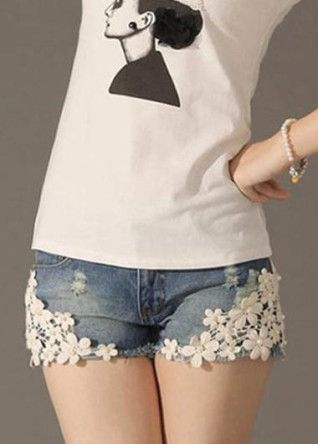 Fashion Denim Shorts Light Blue With Lace Flowers And Rivets | martofchina.com-Page Cached