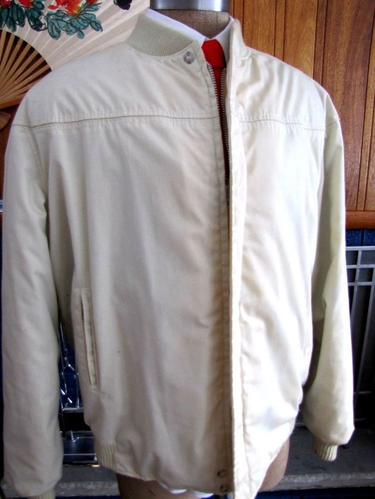 Men's Vintage CATALINA Varsity Jacket Tan Cream Khaki Athletic Coat 46Long 1960s #Catalina