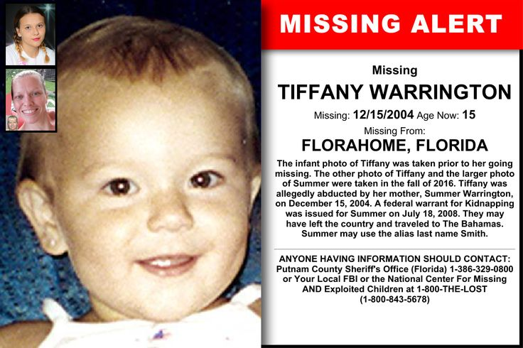 TIFFANY WARRINGTON, Age Now: 15, Missing: 12/15/2004. Missing From FLORAHOME, FL. ANYONE HAVING INFORMATION SHOULD CONTACT: Putnam County Sheriff's Office (Florida) 1-386-329-0800 or Your Local FBI.