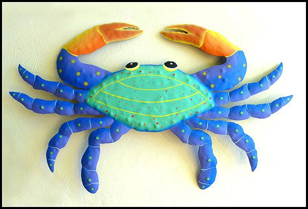 "Turquoise & Blue Metal Crab Wall Decor - Haitian Craft Metal Art - 15"" x 21""   - See this and more at www.TropicAccents.com"