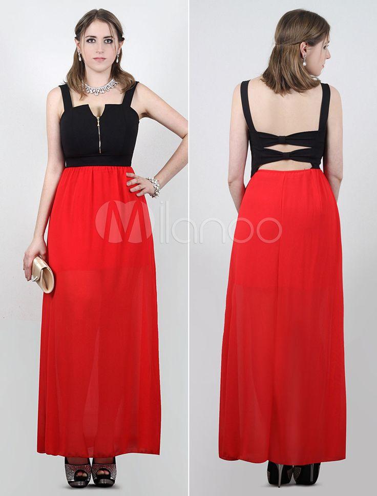 Vestito lungo da party per donna in colore composto di nero-rosso con cutout posteriore (taglie forti).