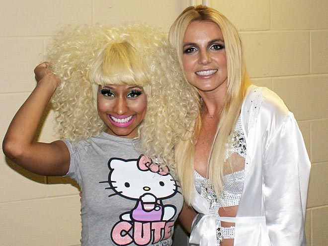 Britney Spears with rapper Nicki Minaj before Minaj opened for her show on the Femme Fatale tour in 2011