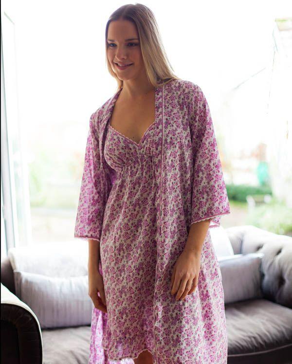 Pearl 3/4 th Length Floral Print Robe