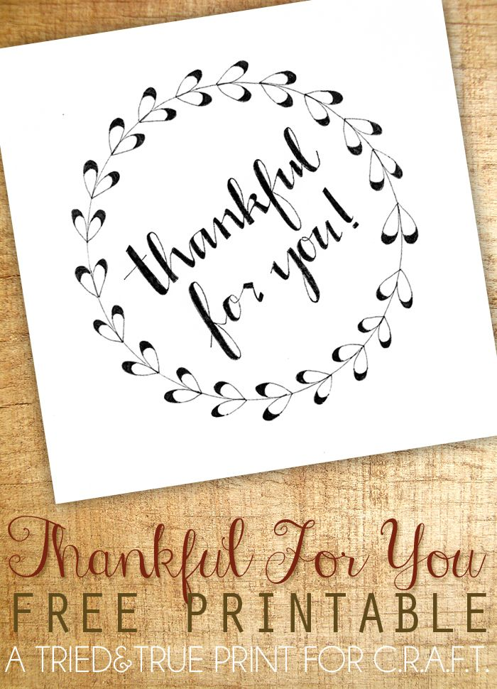 'Thankful for you' printable labels and greeting card