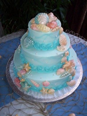 Beach wedding cake or little mermaid cake