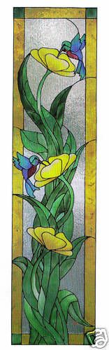 faux stained glass hummingbird window cling