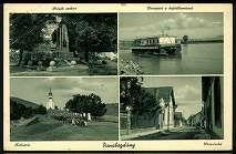 Dunabogdány Hősök szobra. Dunapart a hajóállomással. Kálvária. Utcarészlet