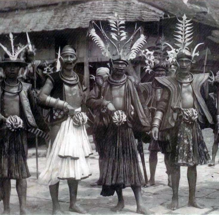 Warriors on Nias Island. ca. 1920 | Postcard; photographer Leo Haas // Nias Island, Sumatra