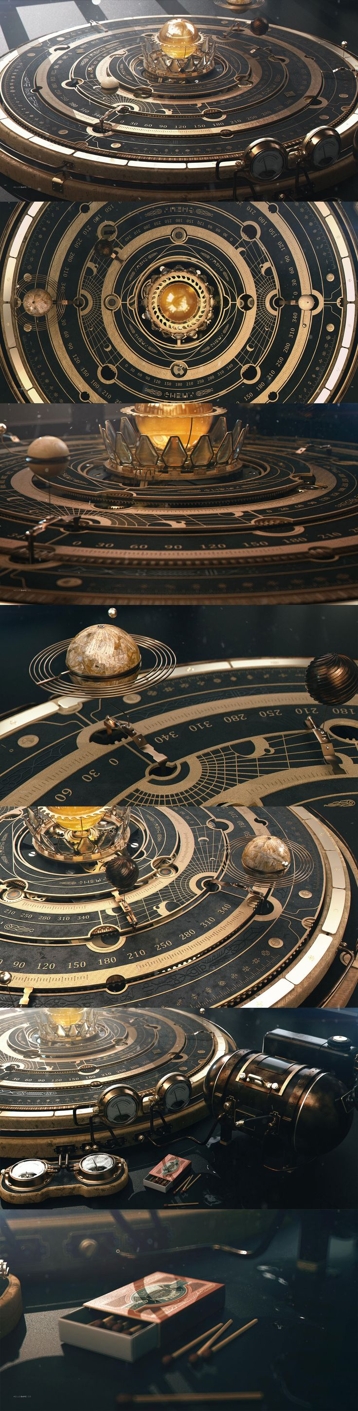 Style frames and boards steampunk Astrolabe Orrery Table by dchan