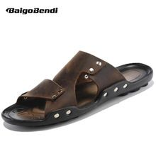 US $32.74 EUR 38-44 New Leather Casual Slipper Flip Flop Thongs Sandal Slides Mens Summer Outdoor Shoes. Aliexpress product