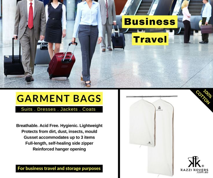 Garment Bags for Business Travel | Safeguard your suits, dresses and coats in your travels in 100% Cotton Garment Bags. Designed to protect and safeguard against the elements. Breathable. Acid-free and easy to pack and hang. Stores up to 3 garments.