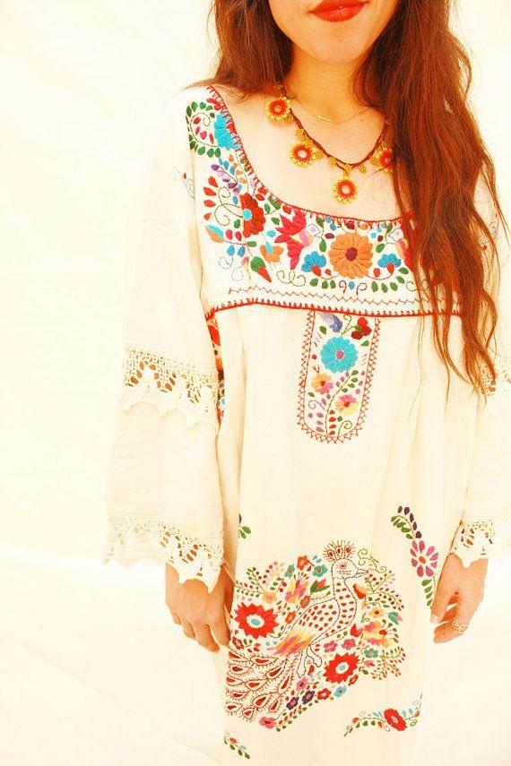 Pajaritos Vintage Mexican romantic long bell sleeve maxi dress crochet natural cotton plus size off shoulder