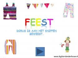Digibordles: Dorus is aan het knippen geweest. Weet jij uit welke kleding ze het driehoekje heeft geknipt? http://digibordonderbouw.nl/index.php/themas/feest/feestdigibordlessen