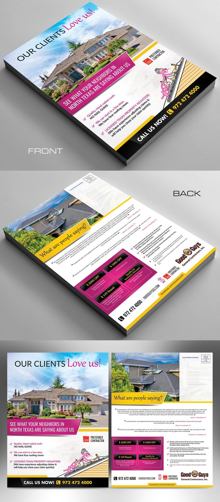 Designs | Roofing Company Direct Mailer - Pink Panther | Postcard, flyer or print contest