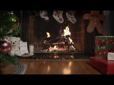 Holiday Video Fireplace with Christmas Tree and Model Train 20:00 Play with sound or not