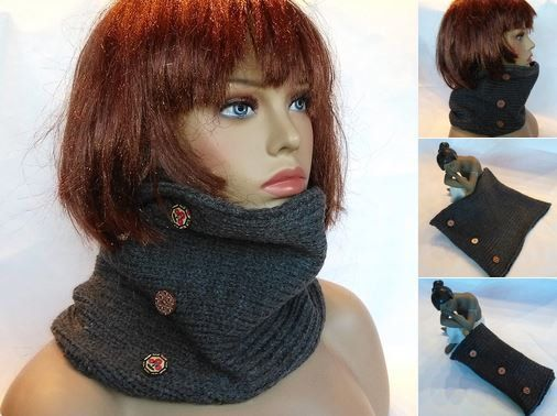 Gray scarf neck gaiter scarf ring cowl scarf neck by knittyshop