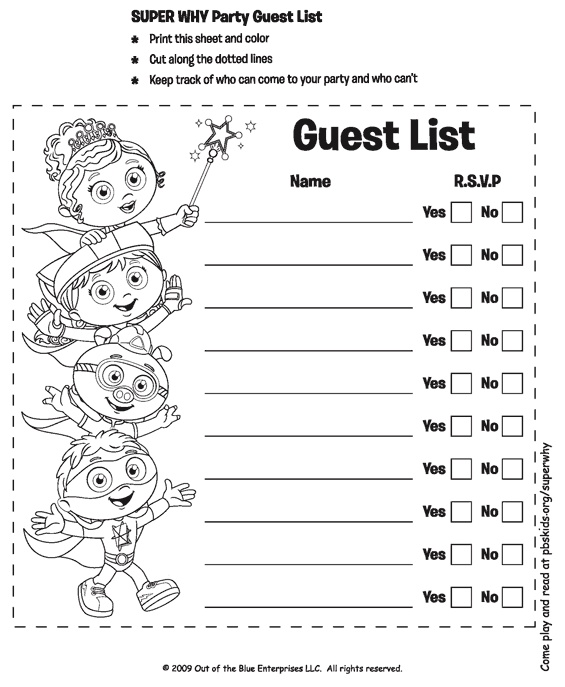 15 best Bday ideas images on Pinterest Super why birthday - free printable guest list