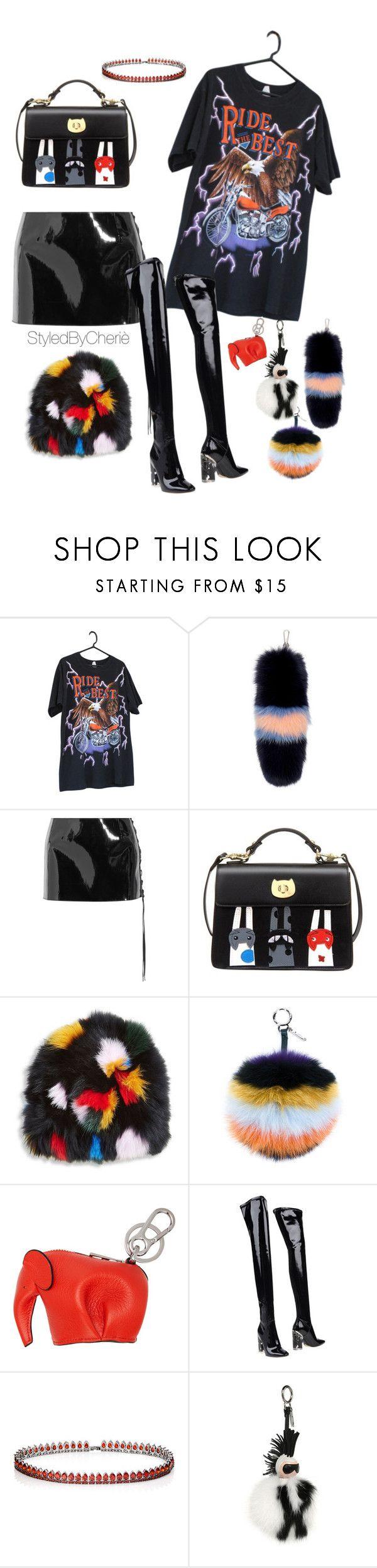 """Slick"" by masonsjar ❤ liked on Polyvore featuring Versace, Anthony Vaccarello, Loeffler Randall, Fendi, Loewe, Christian Dior and Fallon"