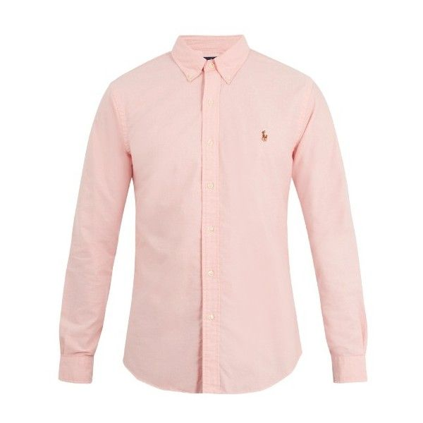 Polo Ralph Lauren Slim-fit oxford-cotton shirt ($75) ❤ liked on Polyvore featuring men's fashion, men's clothing, men's shirts, men's dress shirts, pink, mens french cuff dress shirts, mens slim fit shirts, mens dress shirts, mens oxford cloth shirts and mens button down collar shirts