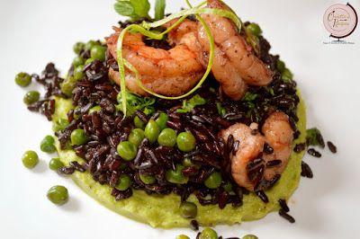 Orietta's Recipes: Riso venere con gamberi e piselli su crema di zucc...