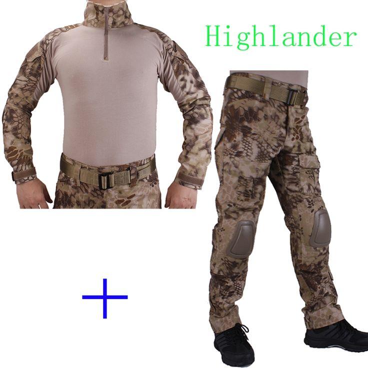 59.84$  Buy here - Hunting Camouflage BDU HLD Combat uniform shirt met Broek en Elbow & KneePads militaire cosplay uniform ghilliekostuum jacht  #buychinaproducts