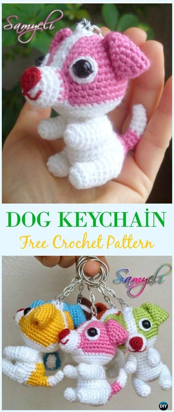 Crochet Dog Keychain Amigurumi Free Pattern - Amigurumi Puppy Dog Stuffed Toy Patterns
