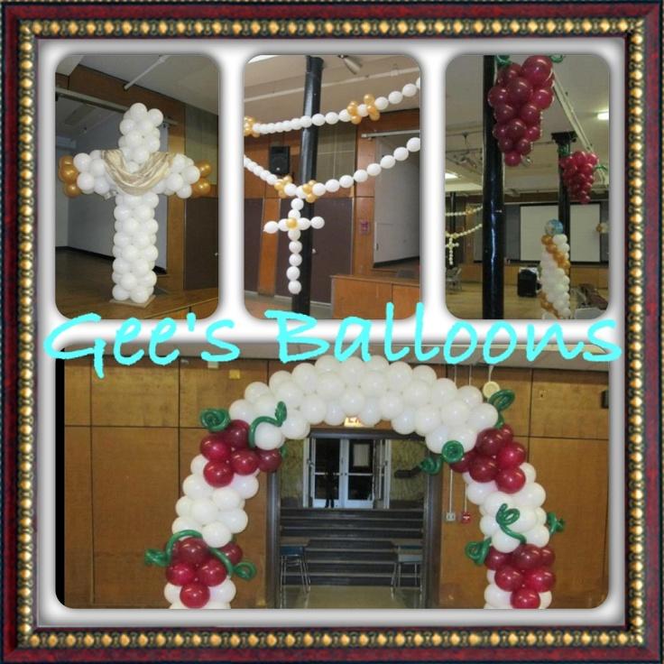 Balloon decor first communion decoracion con globos de for Balloon decoration chicago