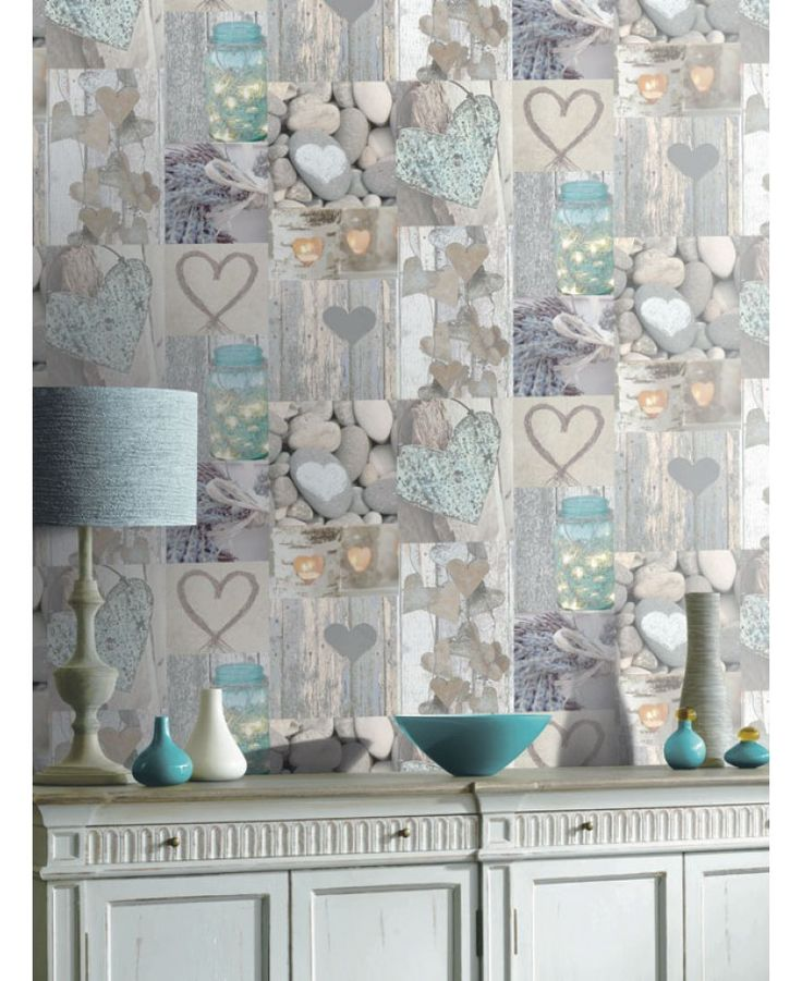 A Beautiful Hearts Themed Wallpaper Ideal For Girls Bedrooms High Quality  Wallpaper. Shabby Chic ...