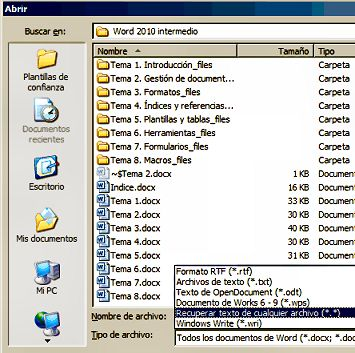 Recuperar texto de un archivo dañado.