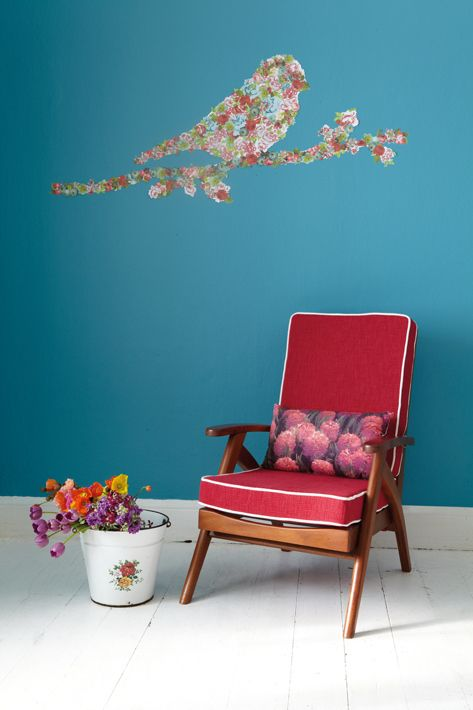 Use scrapbooking paper to make a bird-shaped decal.