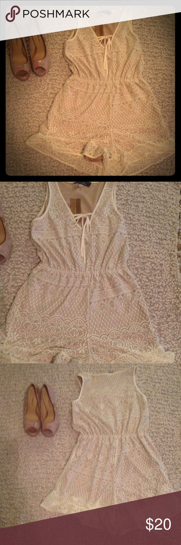 Blue Rain Eyelet romper New. Never worn. Beautiful and delicate romper. Best styled with heels or sandals. Francesca's Other