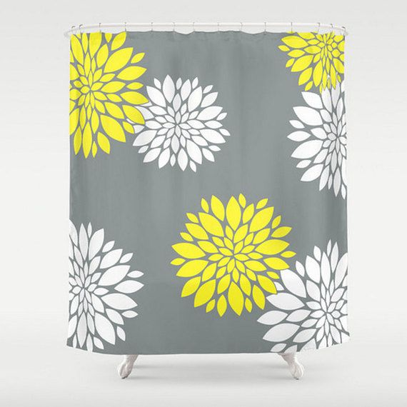 Grey Shower Curtain, Large Shower Curtain, Yellow Shower Curtain, Designer Shower Curtain, Grey Bath Curtain, Shower Curtain 71x74